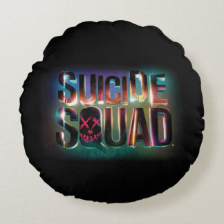 Suicide Squad | Colorful Glow Logo Round Cushion