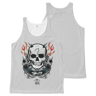 Suicide Squad | Diablo Skull & Flames Tattoo Art All-Over Print Tank Top