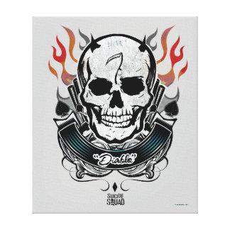 Suicide Squad   Diablo Skull & Flames Tattoo Art Canvas Print