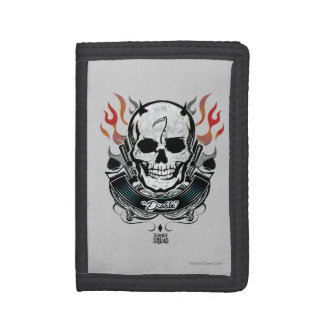Suicide Squad   Diablo Skull & Flames Tattoo Art Trifold Wallets