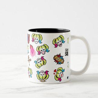 Suicide Squad | Harley Quinn Emoji Pattern Two-Tone Coffee Mug