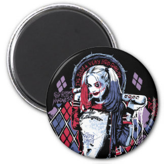 Suicide Squad | Harley Quinn Inked Graffiti 6 Cm Round Magnet