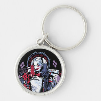 Suicide Squad | Harley Quinn Inked Graffiti Silver-Colored Round Key Ring