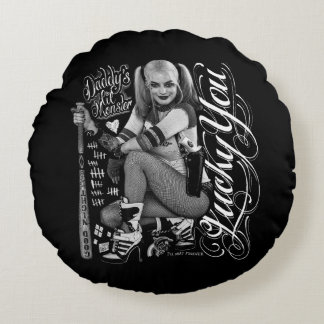 Suicide Squad | Harley Quinn Typography Photo Round Cushion