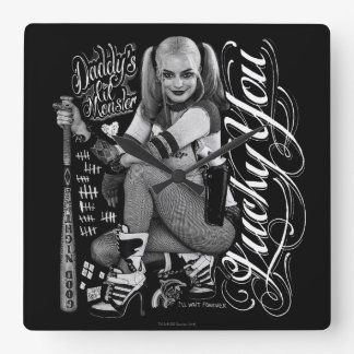 Suicide Squad   Harley Quinn Typography Photo Wall Clock