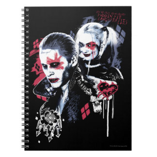 Suicide Squad   Joker & Harley Painted Graffiti Spiral Note Book
