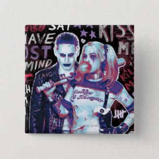 Suicide Squad | Joker & Harley Typography Photo 15 Cm Square Badge