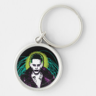 Suicide Squad | Joker Retro Rock Graphic Silver-Colored Round Key Ring