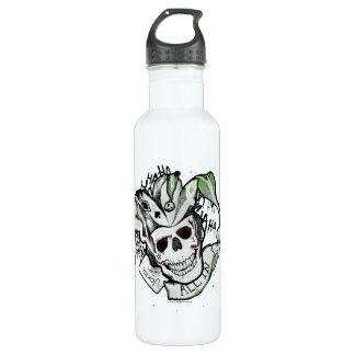 "Suicide Squad | Joker Skull ""All In"" Tattoo Art 710 Ml Water Bottle"