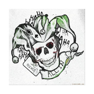 "Suicide Squad   Joker Skull ""All In"" Tattoo Art Canvas Print"