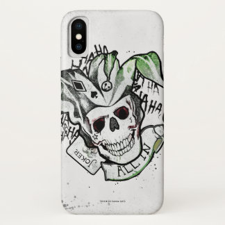 "Suicide Squad | Joker Skull ""All In"" Tattoo Art iPhone X Case"