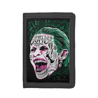 Suicide Squad | Laughing Joker Head Sketch Tri-fold Wallet