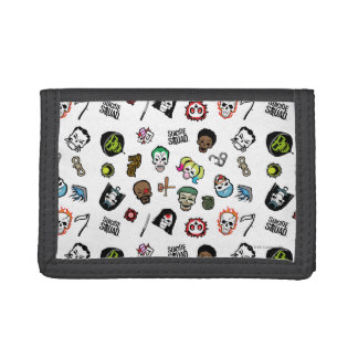 Suicide Squad | Suicide Squad Emoji Pattern Trifold Wallets