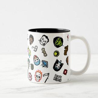 Suicide Squad | Suicide Squad Emoji Pattern Two-Tone Coffee Mug