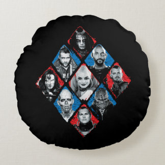 Suicide Squad | Task Force X Checkered Diamond Round Cushion