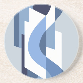 SUISSE: Art Deco Moderne: Blue Monday Beverage Coasters