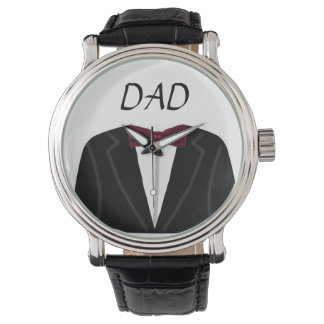 Suit And Dickie Bow Dad Vintage Leather Strap Watch