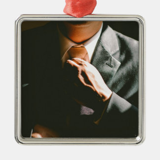 Suit businessman tie shadow effect christmas ornament