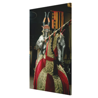 Suit of armour and matching horse armour canvas print