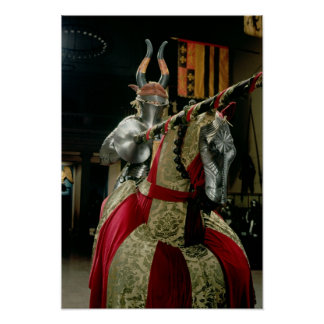 Suit of armour and matching horse armour poster