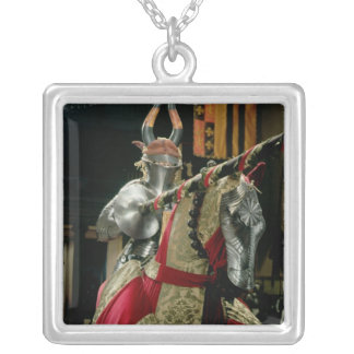 Suit of armour and matching horse armour silver plated necklace