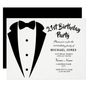 Suit Tie Mens 21st Birthday Party Invitation