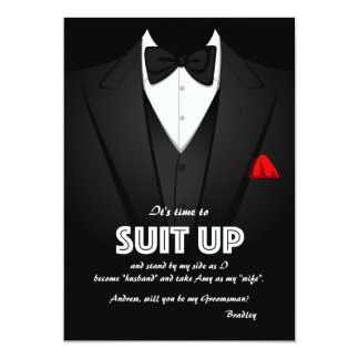 Suit Up Groomsman Request Card