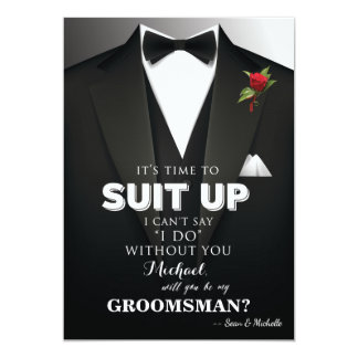 Suit Up Groomsman Tuxedo Invitation