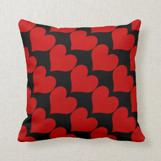 Suitable - Coral Red Hearts on Black Throw Cushions