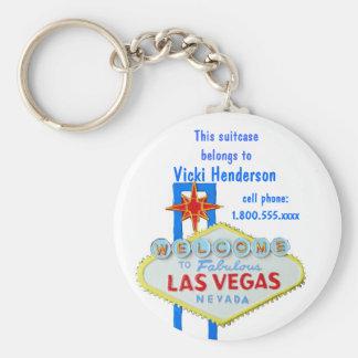 Suitcase Bag Tag Las Vegas Sign Basic Round Button Key Ring