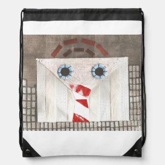 Suitcase Man Drawstring Bag