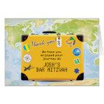 Suitcase World Travel Themed Bar Bat Mitzvah Note Card