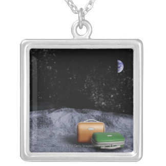Suitcases on the Moon Silver Plated Necklace