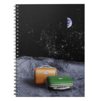 Suitcases on the Moon Spiral Notebook