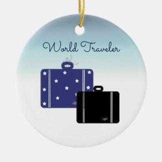 Suitcases World Traveler Christmas Ornament