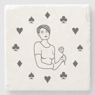 Suits of Cards Girl Stone Coaster