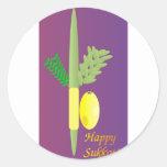 Sukkot 4 minim classic round sticker