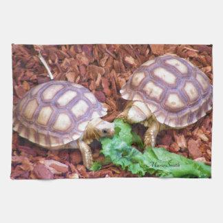 Sulcata Tortoise Hatchlings Tea Towel