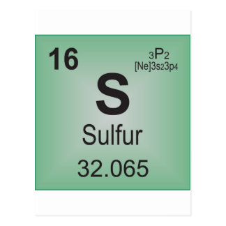 Sulfur Individual Element of the Periodic Table Postcard