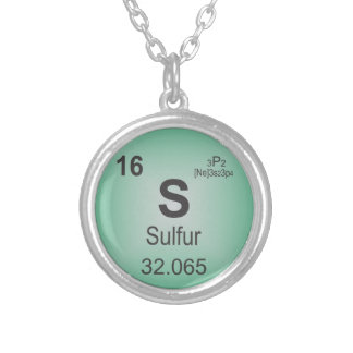Sulfur Individual Element of the Periodic Table Silver Plated Necklace