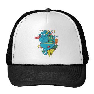 sulking monster with pals vector art 2 trucker hats