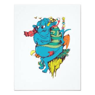 """sulking monster with pals vector art 2 4.25"""" x 5.5"""" invitation card"""