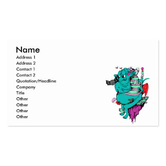 sulking monster with pals vector art business card