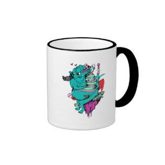 sulking monster with pals vector art coffee mugs