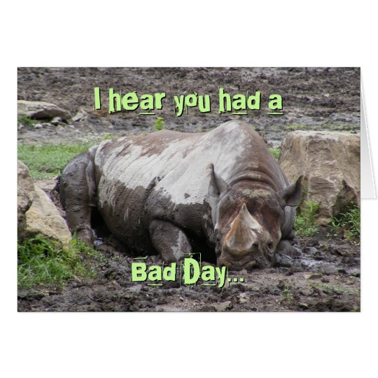 Sulking Rhino Greeting Card