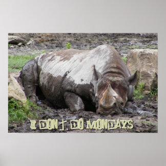 Sulking Rhino Poster Print