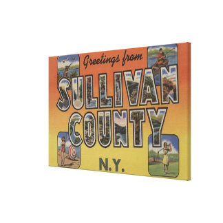 Sullivan County, New York - Large Letter Scenes Canvas Print