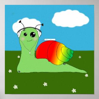 Sullivan la Snail loves music: Reggae Poster