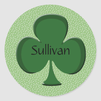 Sullivan Shamrock Name Stickers
