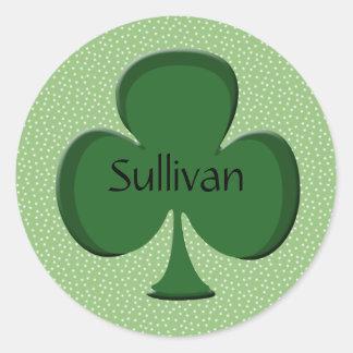 Sullivan Shamrock Name Stickers